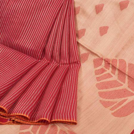 Adhesive Red Color Linen Designer Saree