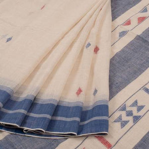 Adhesive Creem Color Linen Designer Saree