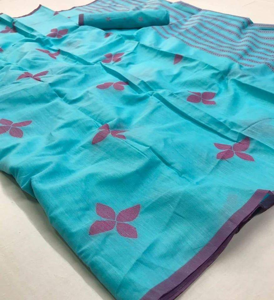 Outstanding Look Skyblue Color Linen Digital Print Designer Saree With Stunning Blouse