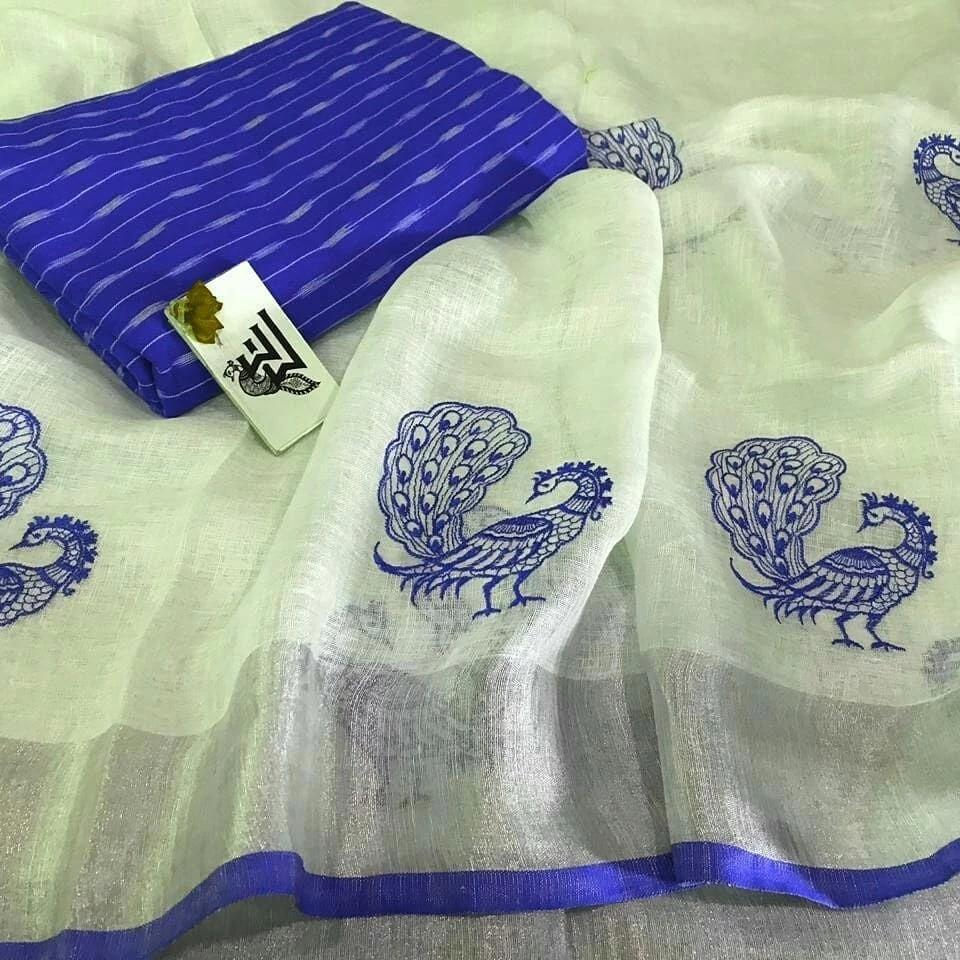 ADHESIVE  LIGHT YELLOW AND BLUE COLOR LINEN DESIGNER SAREEE