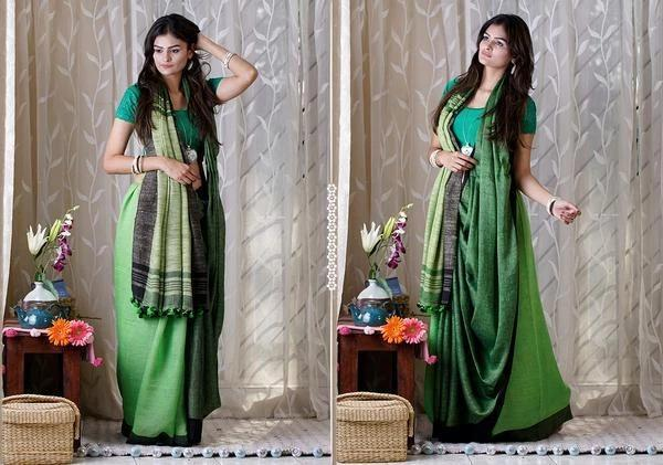 BEAUTIFUL GREEN COLOR LINEN DESIGNER SAREEE