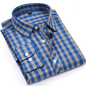 Men's Chex Blue Design Slim Fit Long-Sleeve Cotton Casual Lining Shirt