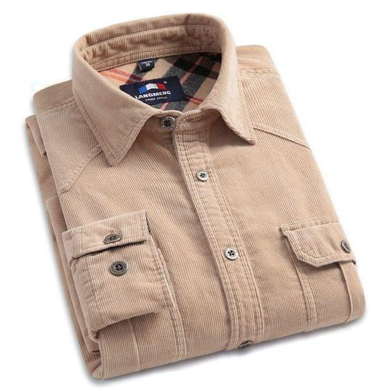 Men's Plain Cream Color Slim Fit Long-Sleeve Cotton Casual Shirt