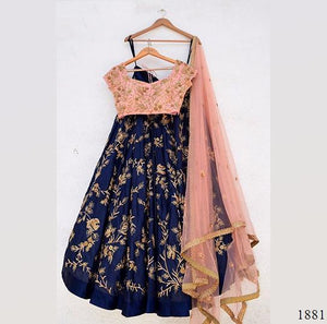 Trendy Blue&Peach Color Embroidery Work Lehenga Choli