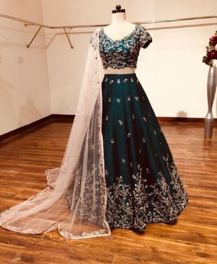 Owesome Dark Green Color Embroidery Work Lehenga Choli