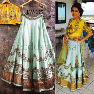 New Look White&Yellow Color Embroidery Work Lehenga Choli