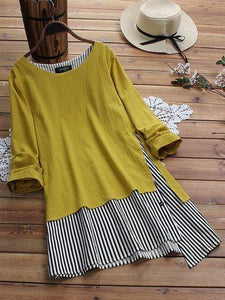 Classy Look Plain Yellow & Black Color Superb Casual Long Top