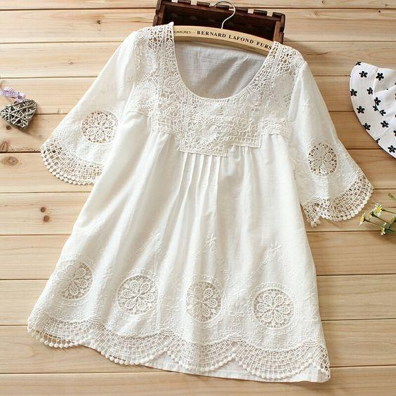 Latest Simple Look White Color With Embroidery Work Casual Top