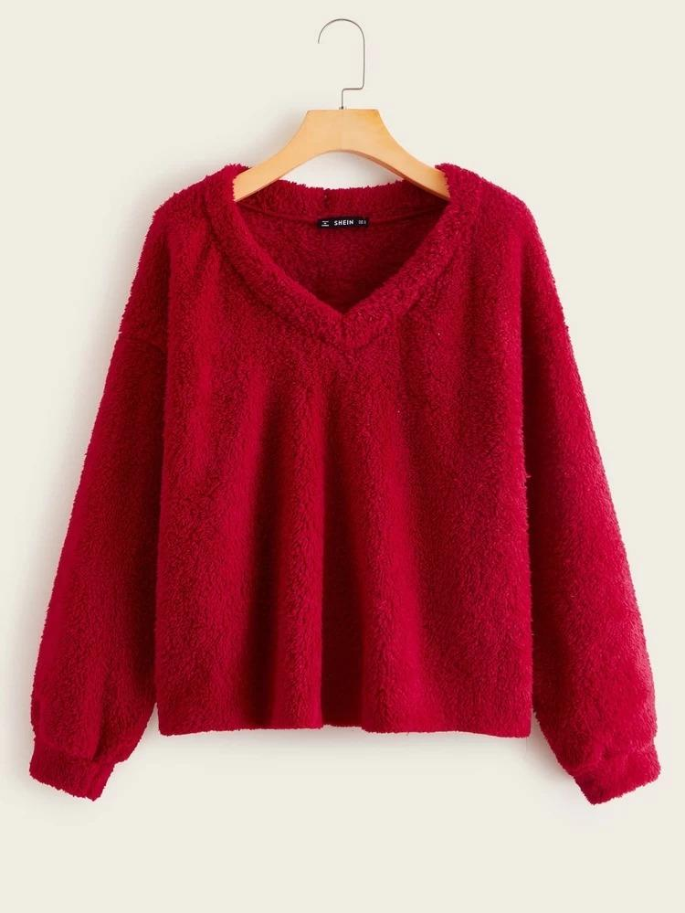 Simple Breathable & Soft Fabric Red Color Long Sleeves Casual Top