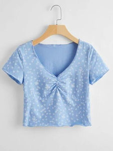 Latest & Simple Ethnic Trendy Sky Blue Color Casual Top