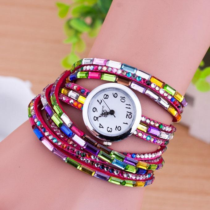 Attractive Multi Color Bracelet Type With Diamond Watch