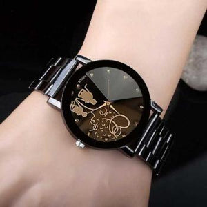 Latest Black Color Stainless Still Simple Fancy Watch