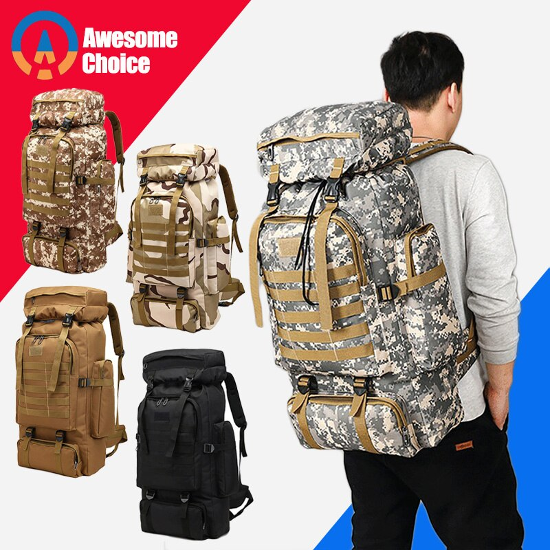 Army 80L Waterproof Backpack for outdoor Hiking and Camping