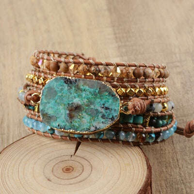 "Bracelet Cuir ""Communication"" en Chrysocolle"