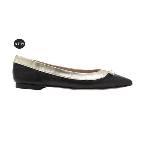 L'Amore A Punta deluxe pointed flat nappa black