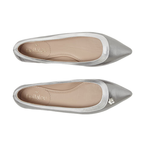 L'Amore A Punta deluxe pointed flat nappa silver