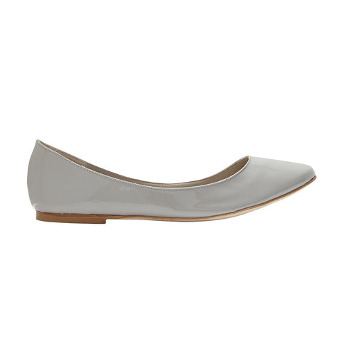 Flat-a-porter ballerina pearl grey patent leather