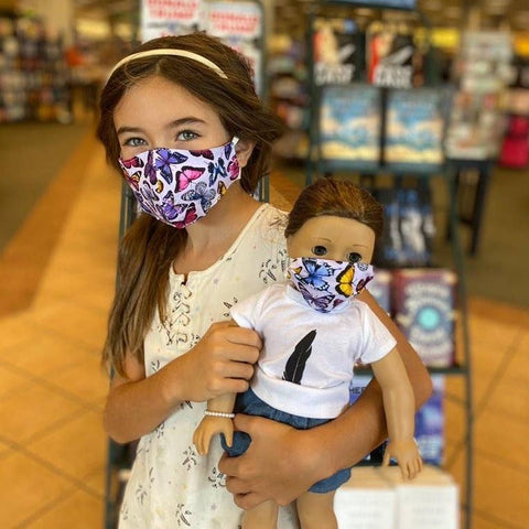 Kid  Face Mask with Doll Face Mask - Butterflies