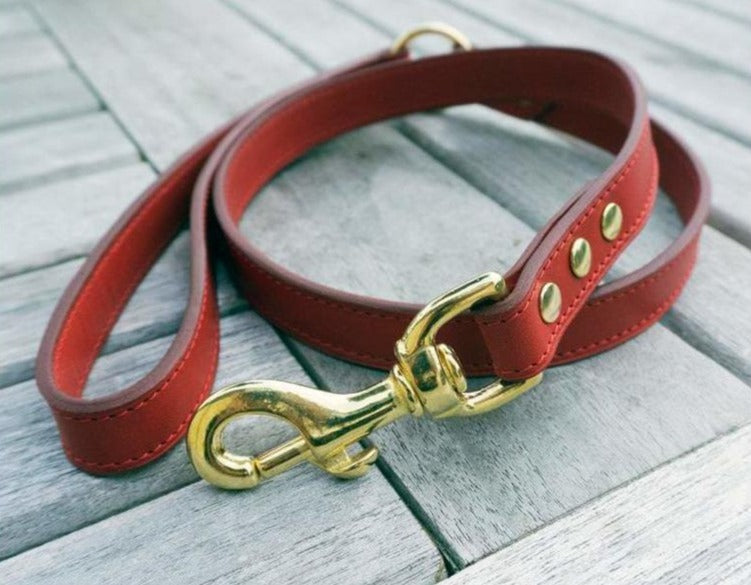 Matching Luxury Leash Red Vegetan Leather and Brass Hardware