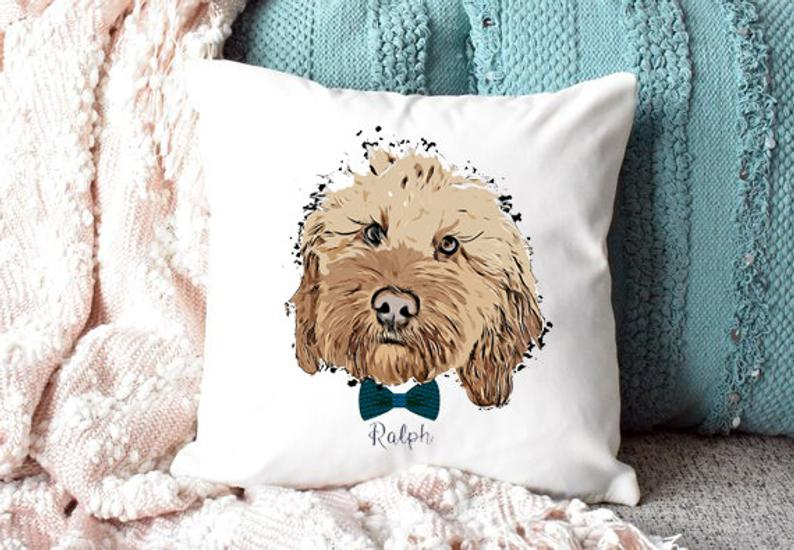 Personalised Dog Portrait Pillow