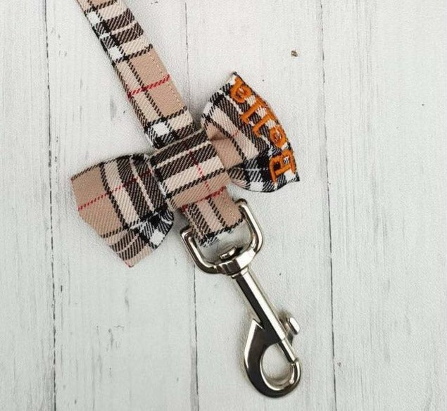 Highland Plaid Personalized Harness, Leash, and Bow Set