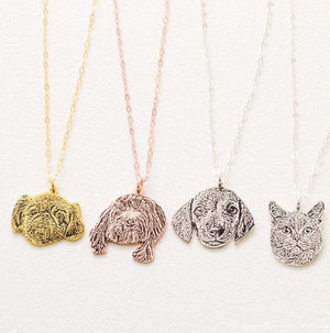Silver Pet Portrait Necklace