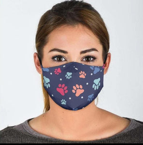 Dog Paws Face Mask with Filter Pocket