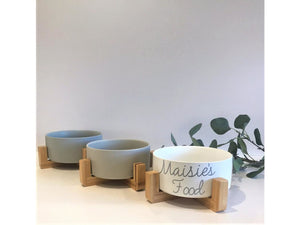 Personalized Midcentury Modern Ceramic Dog Bowl