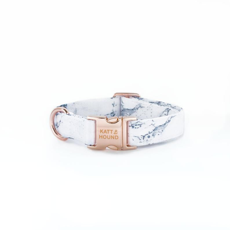White Marble Luxe Dog Collar With Rose Gold Buckle