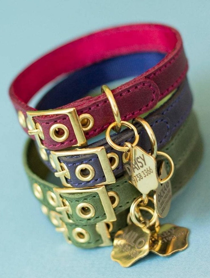 Personalized Leather Cat Collar