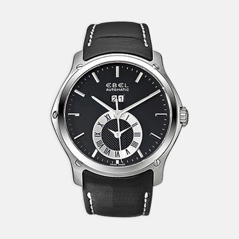 Men's Ebel Classic Hexagon Chronograph<br>  Black Dial <br> Black Leather Strap