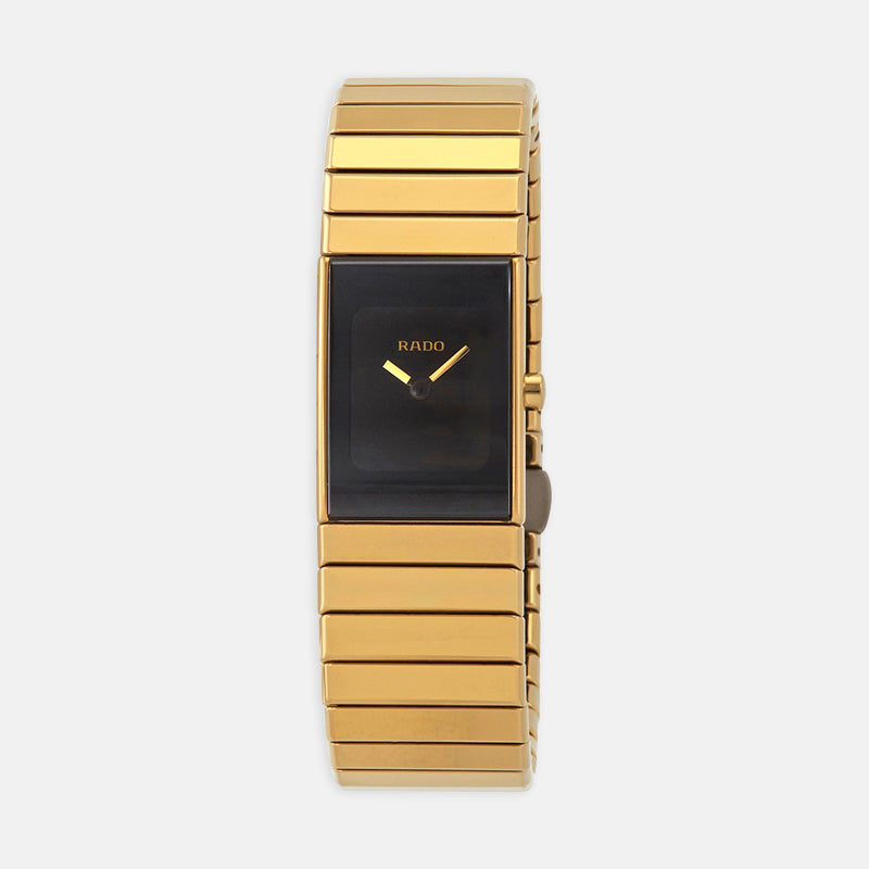 Ladies Rado Ceramica<br> Black Dial<br> 18k Yellow Gold Bracelet