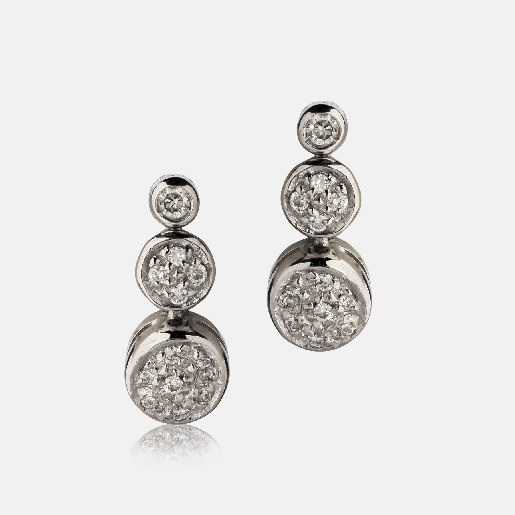 0.24ct Diamond Cluster Earrings,<br> 18ct White Gold