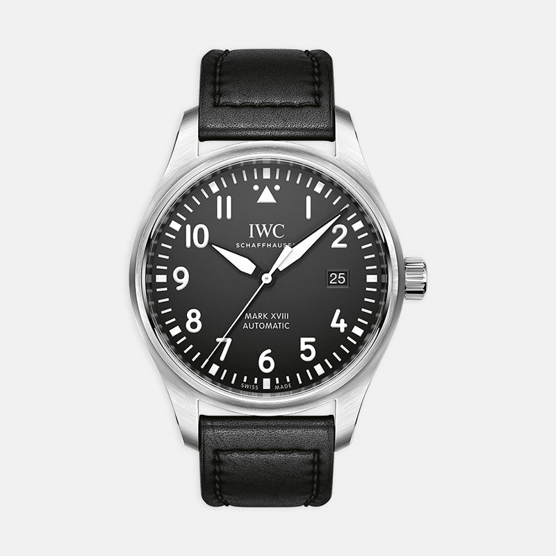 IWC Pilot's Watch Mark XVIII<br> 40mm Black Dial<br> Black Leather Strap
