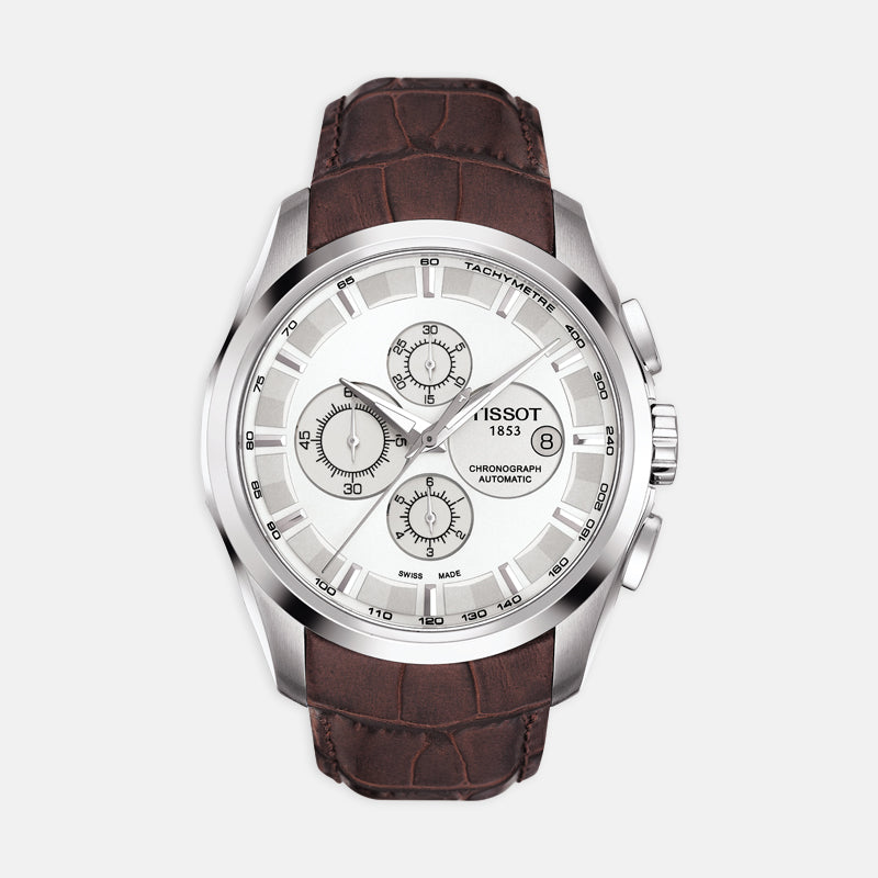 Tissot Courturier <br> 43mm White Dial <br> Brown Leather Strap
