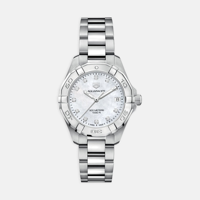 TAG Heuer Aquaracer<br> Quartz 32mm, Mother of Pearl Dial<br> Stainless Steel Bracelet