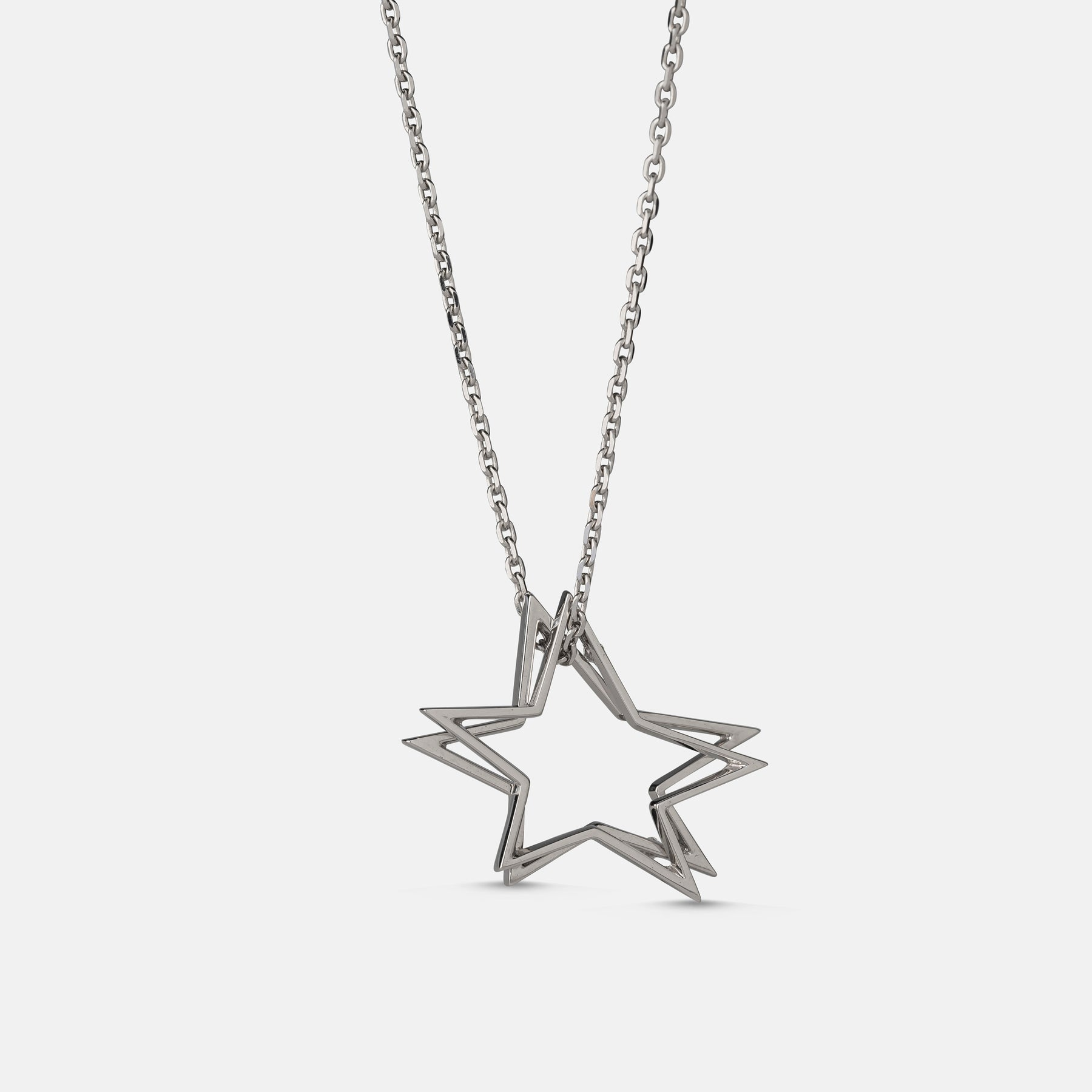 0.03ct Double Star Pendant,<br> 18ct White Gold Chain