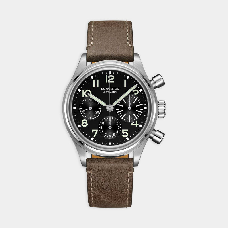 Longines Aviation Big Eye Automatic Chrono<br>  41mm Black Dial<br> Brown Leather Strap