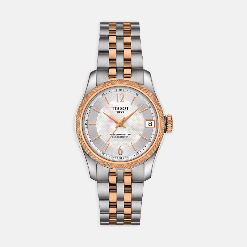 Tissot Ballade Powermatic 80 Cosc Lady<br> 32mm White Mother of Pearl Dial<br> Steel and 18k Rose Gold Bracelet