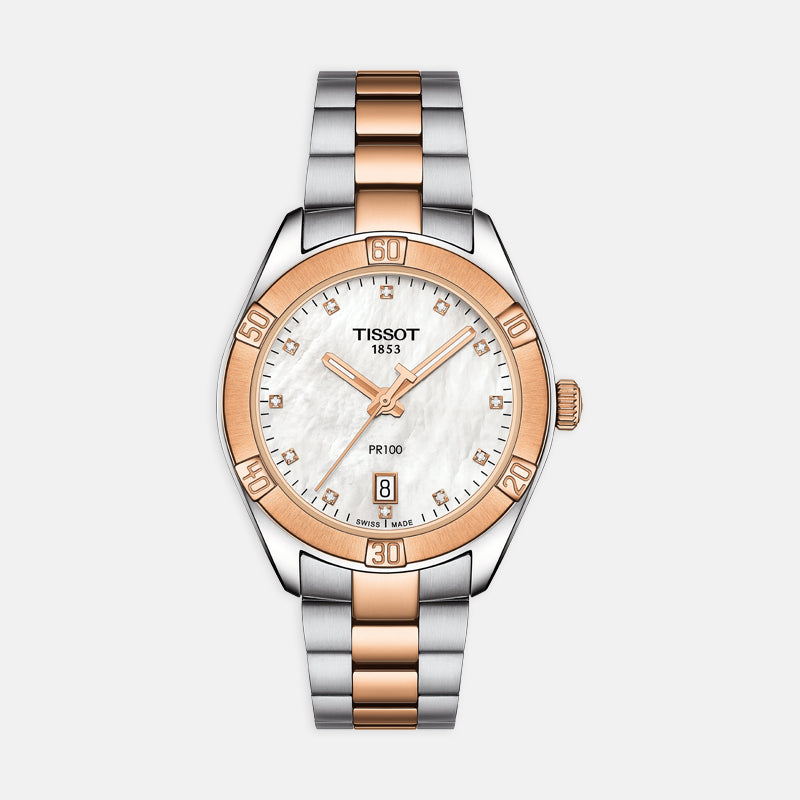 Tissot PR 100 Sport Chic<br> 36mm Mother of Pearl Dial<br> Steel and 18k Rose Gold Bracelet