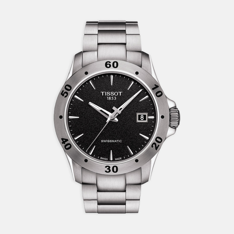 Tissot V8 Swissmatic<br> 42.5mm Black Dial<br> Stainless Steel Bracelet