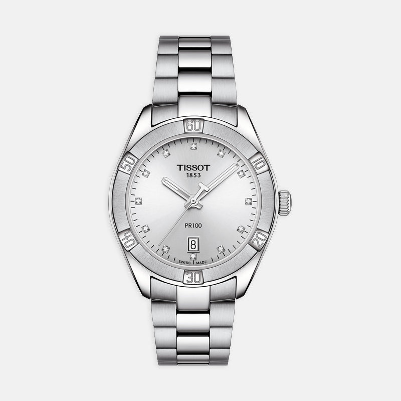 Tissot PR 100 Sport Chic<br> 36mm Silver Dial with Diamond Index<br> Stainless Steel Bracelet