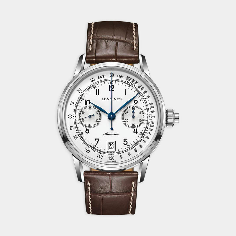 Longines Heritage Chrono <br> 41mm White Dial<br> Brown Leather Strap