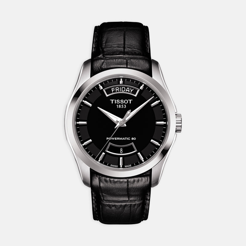 Tissot Couturier Powermatic 80 <br> 39mm Black Dial <br> Black Leather Strap