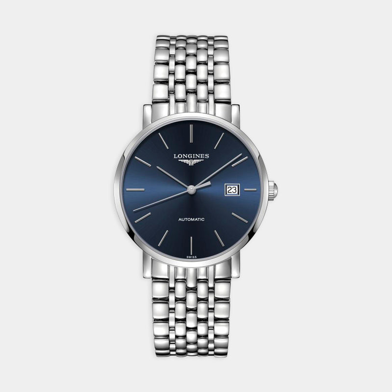 Longines Elegant Automatic<br>  39mm Blue Dial<br> Stainless Steel Bracelet