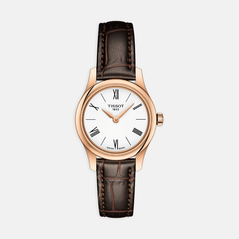 Tissot Tradition 5.5 Lady<br> 25mm 18k Rose Gold Bezel White Dial<br> Brown Leather Strap