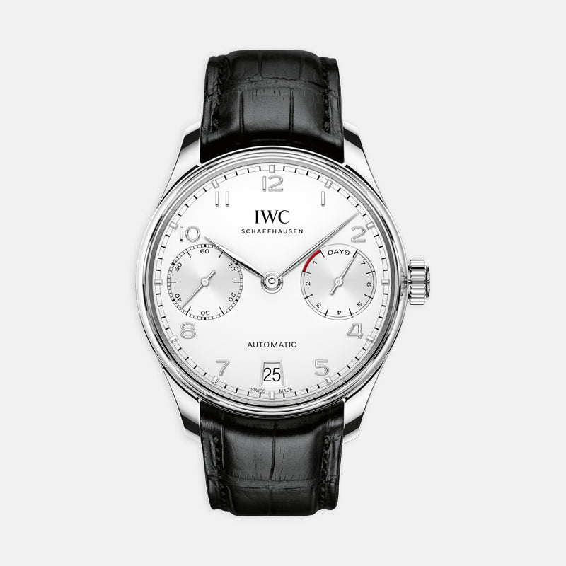 IWC Portugieser Automatic<br> 42.3mm White Detail<br> Black Leather Strap
