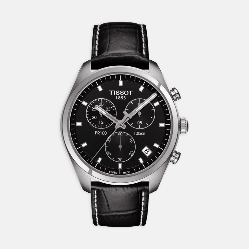 Tissot PR 100 Chronograph <br> 41mm Black Dial <br> Black Leather Strap