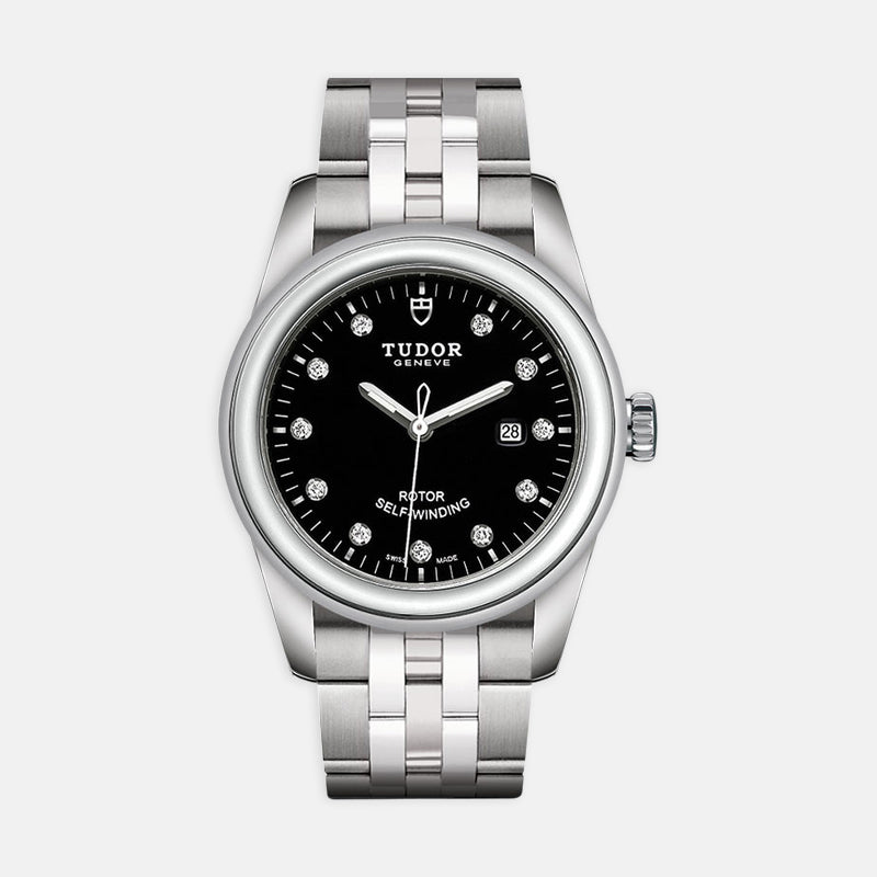 TUDOR Glamour Date<br> 31mm Diamond-Set Black Dial<br> Stainless Steel Bracelet