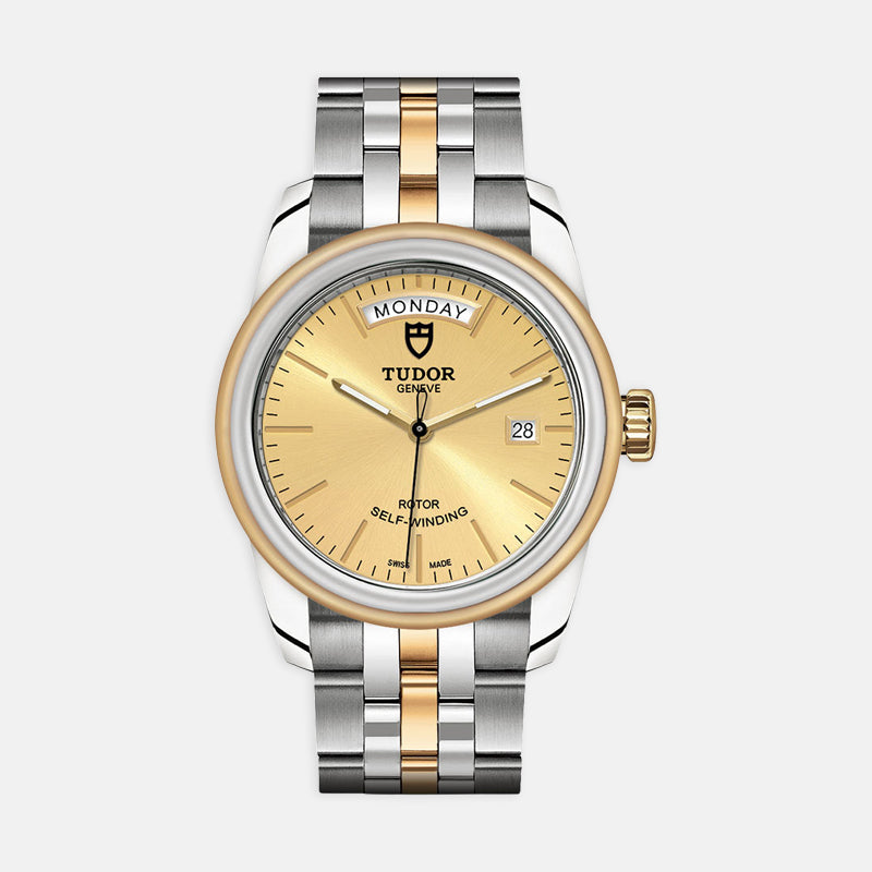 TUDOR Glamour Date & Day<br> 39mm Champagne Dial<br> Steel and Yellow Gold Bracelet